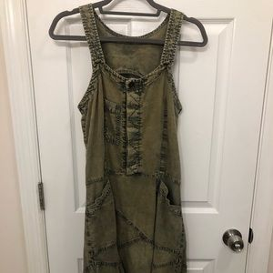 Free People Acid Wash Frayed Hem Dress